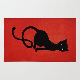 Red Gracious Evil Black Cat Rug