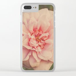 Pastel Pink Rose Clear iPhone Case