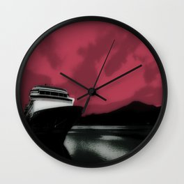 Pink Sky Delight ~ Docked in Juneau  Wall Clock