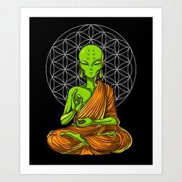 Space Alien Buddha Zen Yoga Meditation Art Print