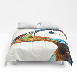 Colorful Puffin Art By Sharon Cummings Comforters