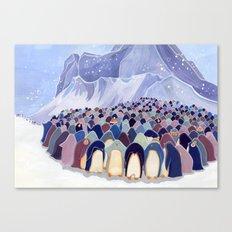 Huddling Penguins Canvas Print