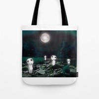 kodama Tote Bags featuring Forest Spirits (Kodama)   by pkarnold + The Cult Print Shop