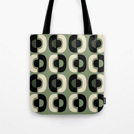 Retro Mid Century Modern Pattern 114 Black and Sage Green Tote Bag