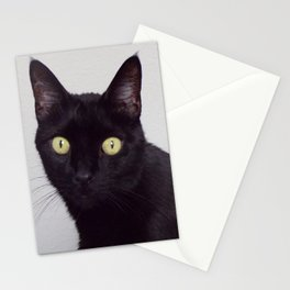 Pretty Kitty, Black Cat With Huge Green Eyes, Halloween Cat Stationery Cards