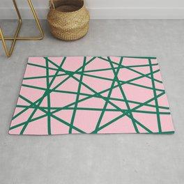 Geometric Lines (blush pink/emerald green) Rug