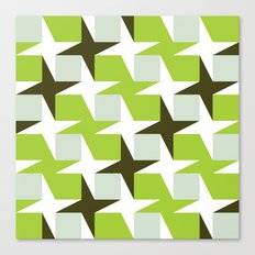 Green & brown stars & squares pattern Canvas Print