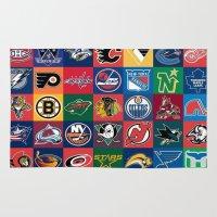 hockey Area & Throw Rugs featuring Hockey Logos by RickART