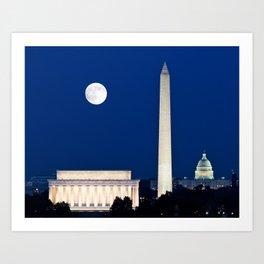 Harvest Moon rising over Washington DC Art Print