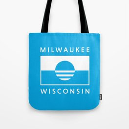 Milwaukee Wisconsin - Cyan - People's Flag of Milwaukee Tote Bag