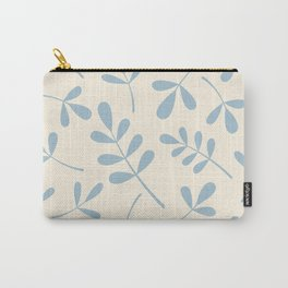 Assorted Leaf Silhouettes Blue on Cream Carry-All Pouch