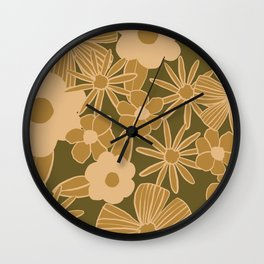 super bloom large flowers – olive Wall Clock