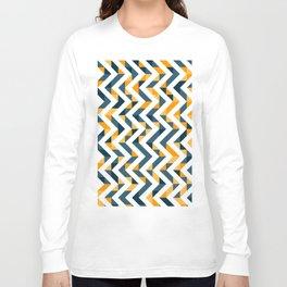 Chevron Oranges and Ink - Geometric Pattern Long Sleeve T-shirt