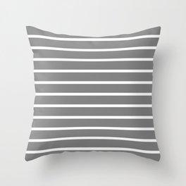 Horizontal Lines (White/Gray) Throw Pillow