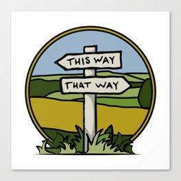 Signpost at a crossroads Canvas Print