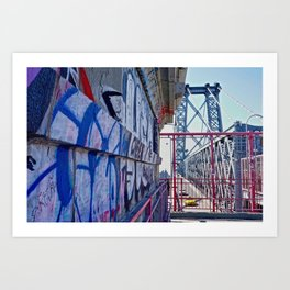 Williamsburg Bridge traffic Art Print