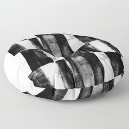 Black and White Handmade Graphic Abstract Pattern Floor Pillow