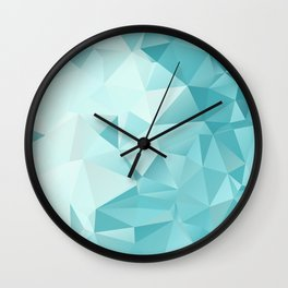 "Polygon Geometric Abstract Design ""Key West"" -Aqua, Turquoise Wall Clock"