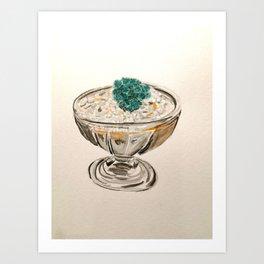 Cactus in an ice cream bowl Art Print