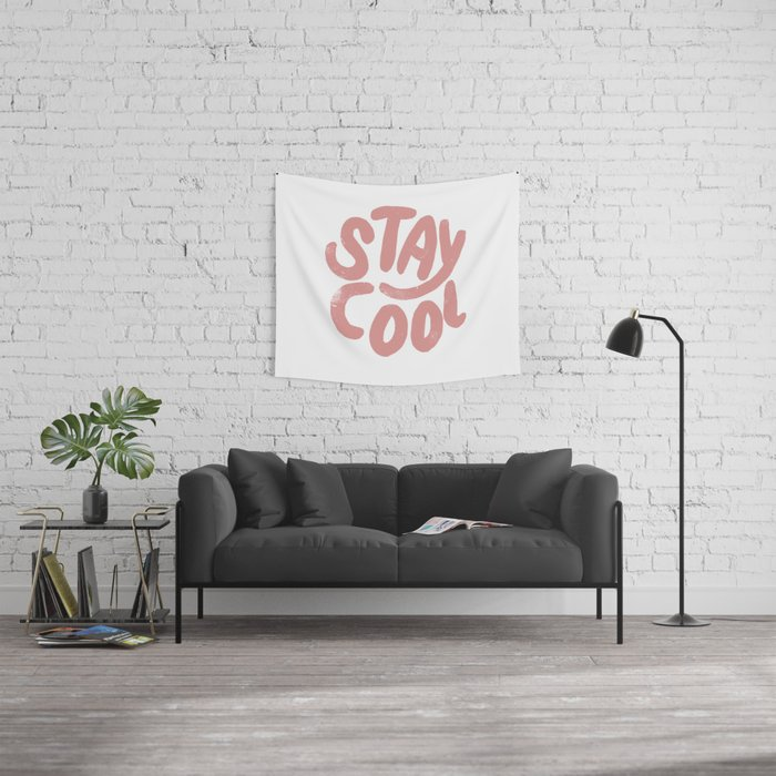 Stay Cool Vintage Pink Wall Tapestry