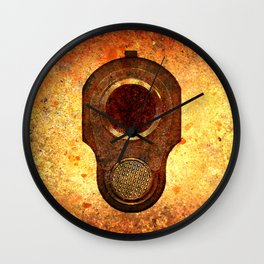 M1911 Colt Pistol Muzzle On Rusted Background Wall Clock