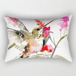 Hummingbird and Pink Flowers Rectangular Pillow