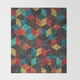 Colorful Isometric Cubes Throw Blanket