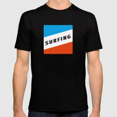 SURFING 3D - Square Black Mens Fitted Tee SMALL