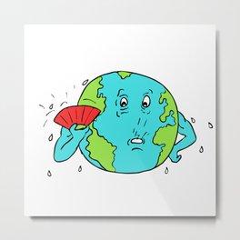 Earth Global Warming Drawing Color Metal Print