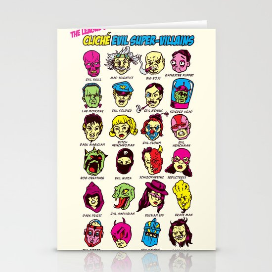 The League of Cliché Evil Super-Villains Stationery Cards