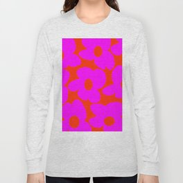 Pink Retro Flowers Orange Red Background #decor #society6 #buyart Long Sleeve T-shirt