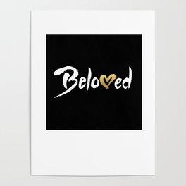 Beloved - White & Gold Poster