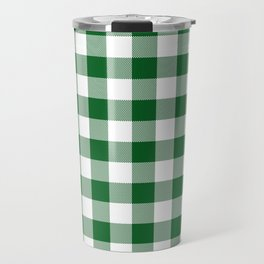 Hunter Green Checker Gingham Plaid Travel Mug