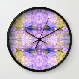 Botanical Abstract Gold and Ultra Violet Wall Clock