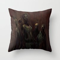 zombies Throw Pillows featuring Zombies! by Adam Howie