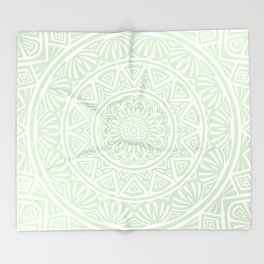 Olive Green Simple Simplistic Mandala Design Ethnic Tribal Pattern Throw Blanket
