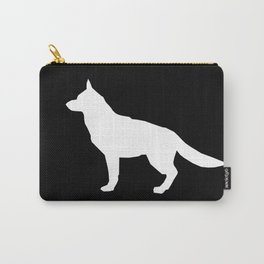 German Shepherd silhouette black and white minimal dog breed square dogs dog art Carry-All Pouch