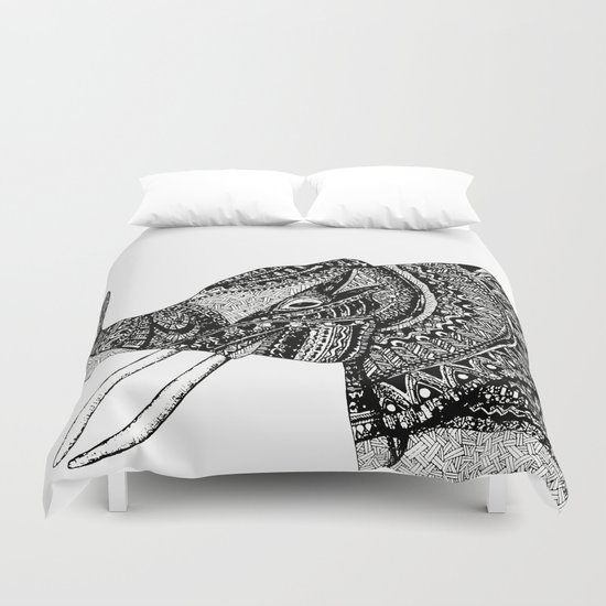 Allison Elephant Black and White Duvet Cover