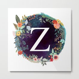 Personalized Monogram Initial Letter Z Floral Wreath Artwork Metal Print