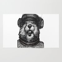 beaver Area & Throw Rugs featuring Mr. Beaver by Mitzek
