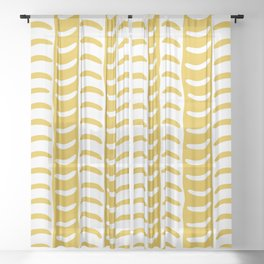 Wavy Stripes Mustard Yellow Sheer Curtain
