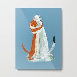 Weasel hugs blue Metal Print