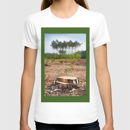 Woods logging one stump after deforestation T-shirt