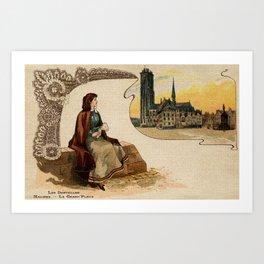 Mechelen lace making litho ca 1900 Art Print
