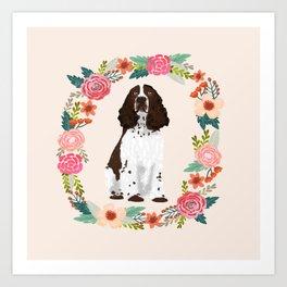 english springer spaniel dog floral wreath dog gifts pet portraits Art Print