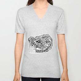Going Places abstract creature doodle Unisex V-Neck