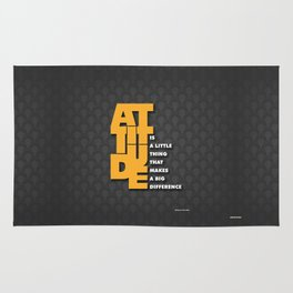 Lab No. 4 - Attitude is a little thing Winston Churchill Inspirational Typography Quotes Poster Rug