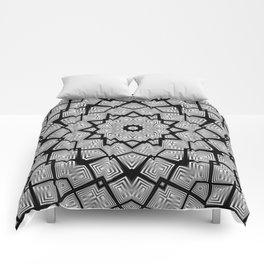 BW kaleidoscope Comforters