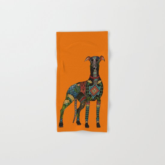 greyhound orange Hand & Bath Towel