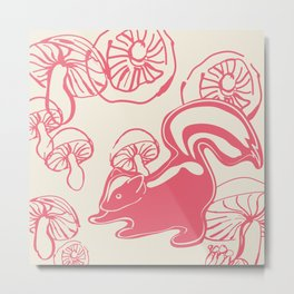 skunk with mushrooms Metal Print